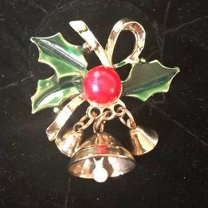 Small Mistletoe Holiday Brooch w/Bells